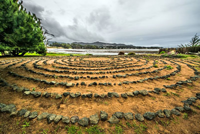 Baywood labyrinth built by Bill Lee, owner of the Back Bay Inn